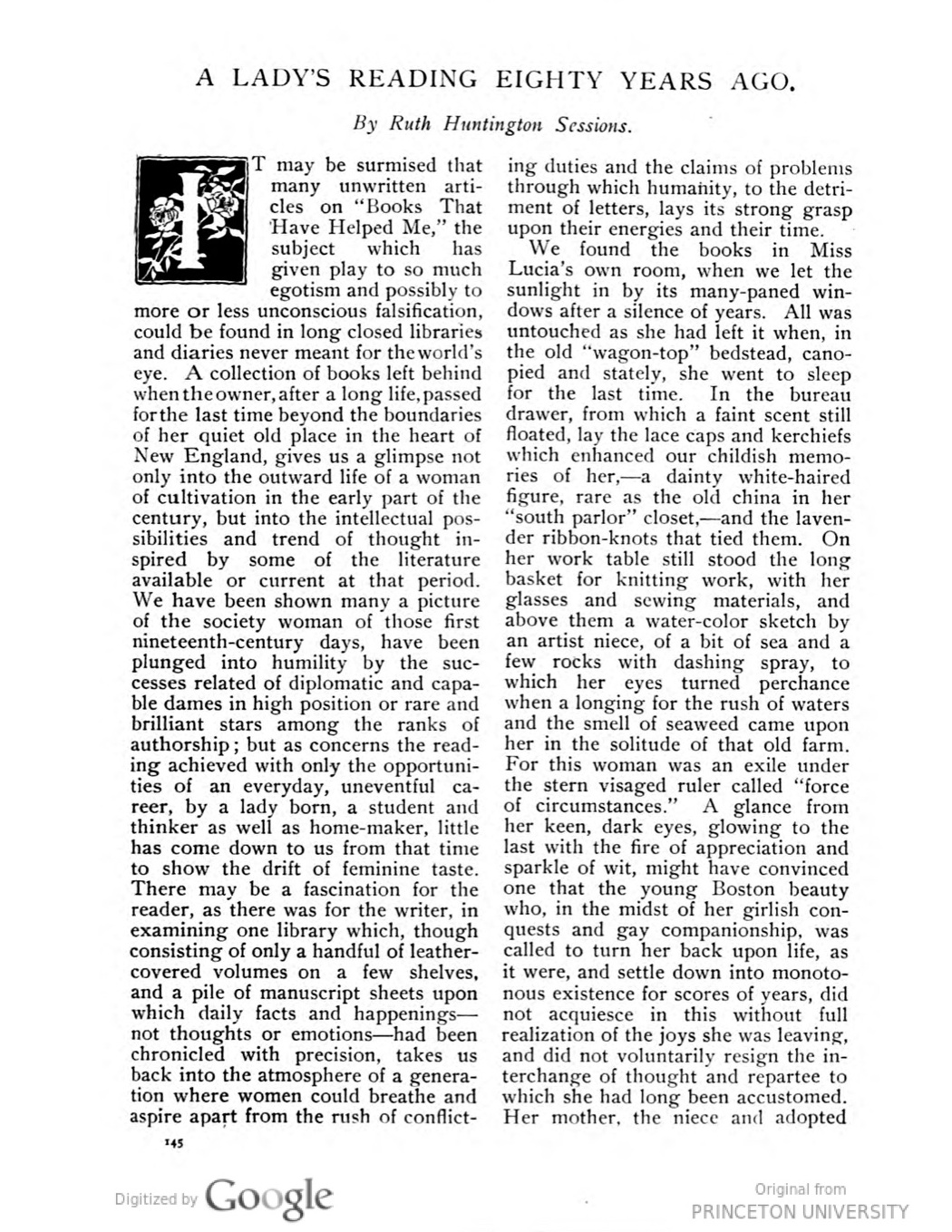 """To continue reading  """"A Lady's Reading Eighty Years Ago"""" click   HERE  or on the image of the page above . The story is printed on pages 145-153 of the October 1899 issue of  The New England Magazine  and has been digitized by Google from an original at University of Iowa. It can also be found in Box 126, Folder 43 of the Porter-Phelps-Huntington Family Papers on deposit at Amherst College."""