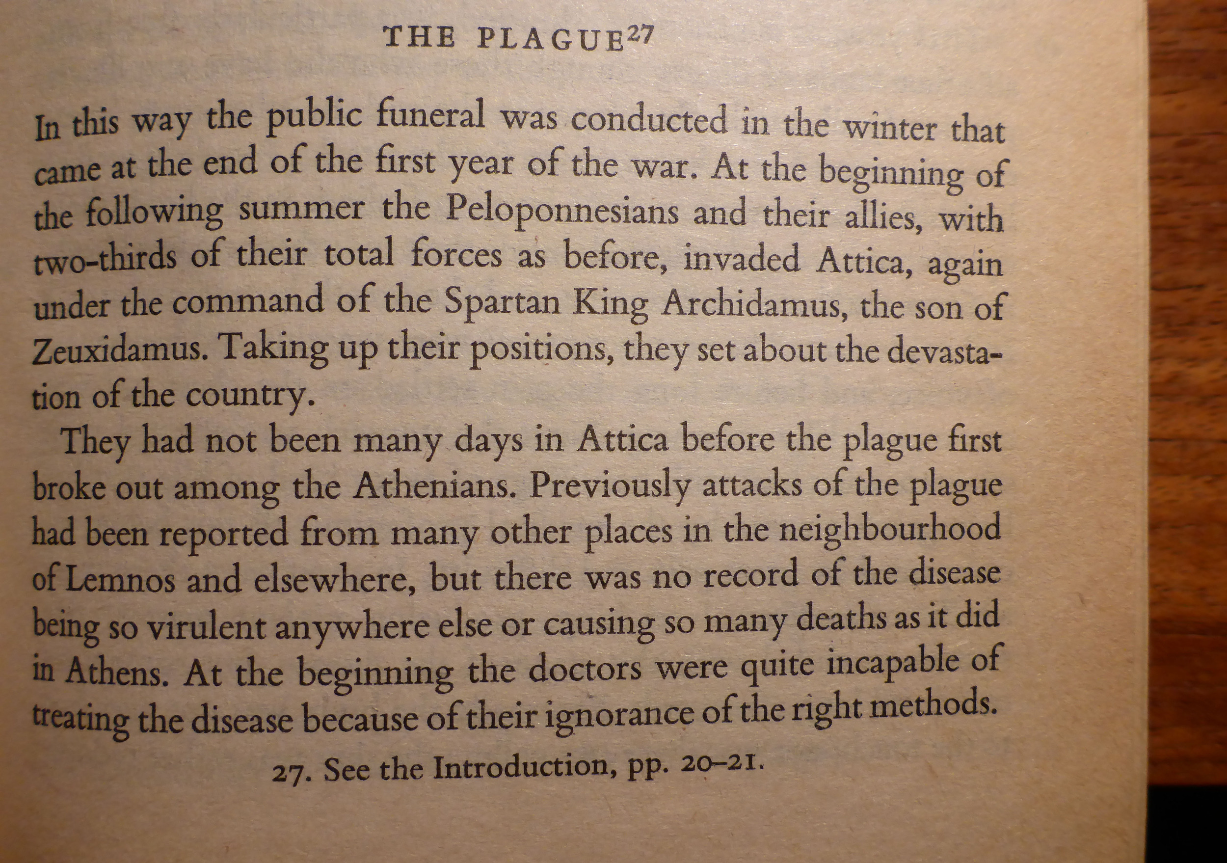 Thucydides on disease during the Peloponnesian War.