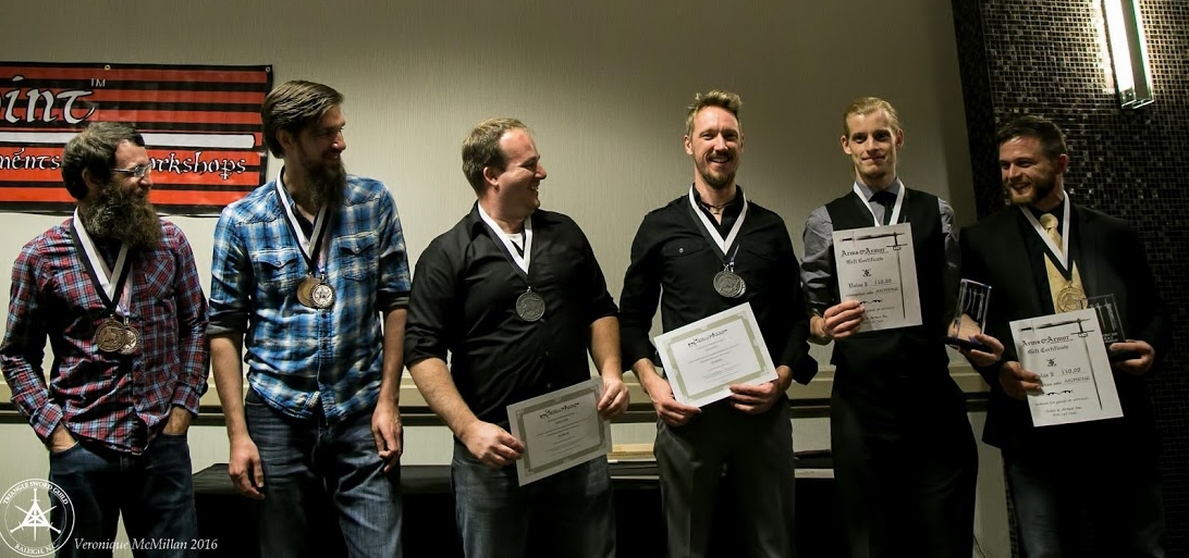 Paired Technique competition winners, from third to first: Dustin Reagan & Ben Floyd, Ben Strickling & Casper Anderson, Arto Fama & Ties Kool