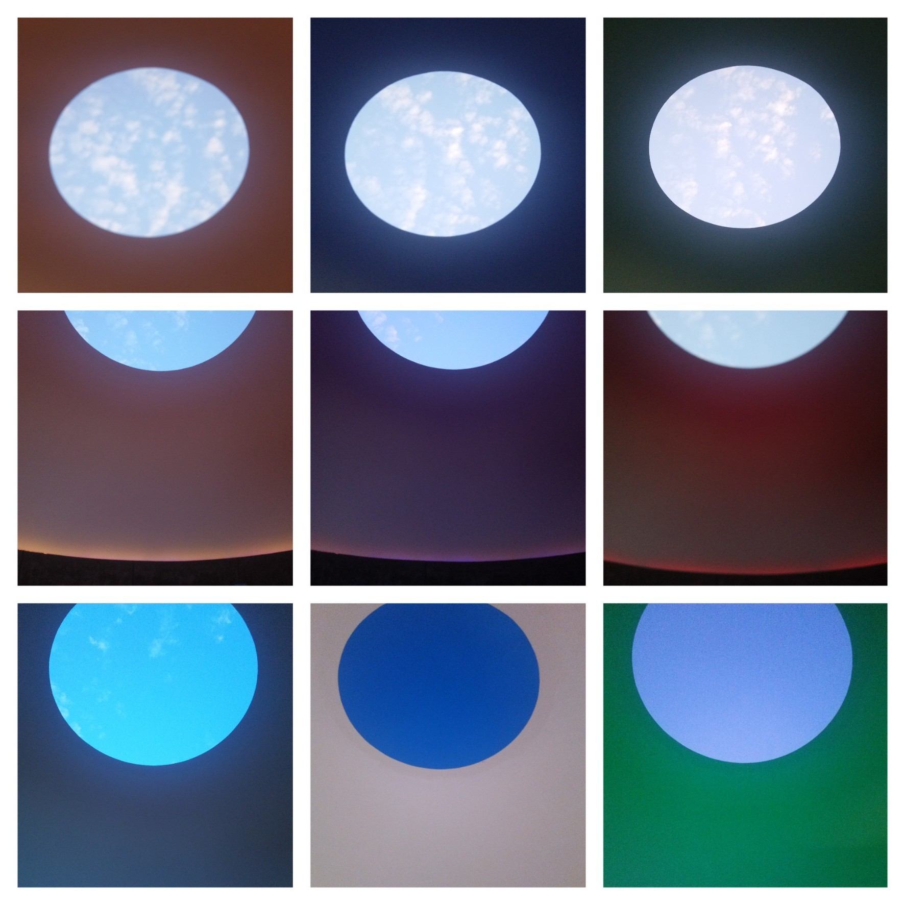 Three Gems, James Turrell, 2005 (pics taken with my lousy phone, which died before the sky really started changing colors)