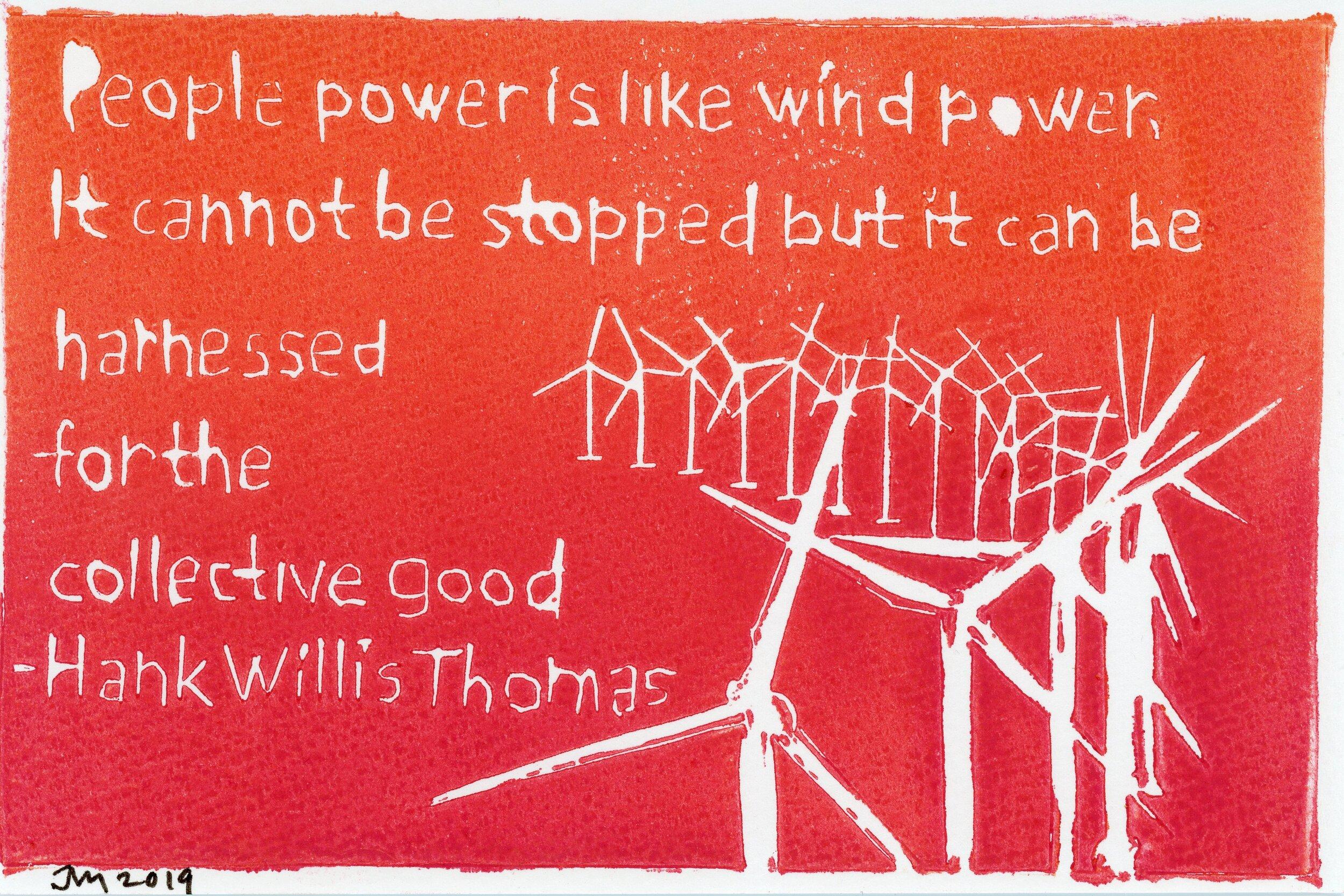 People Power postcard, 2019, linocut