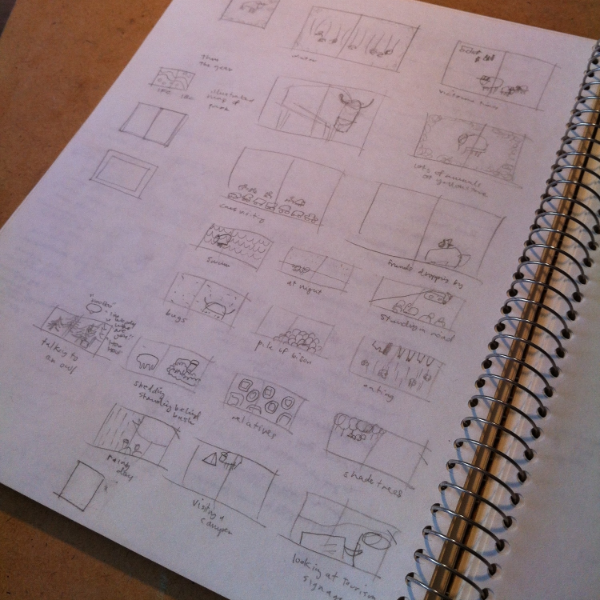 first thumbnail sketches of the book