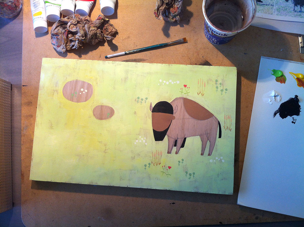 blocking out the main color and wood shapes