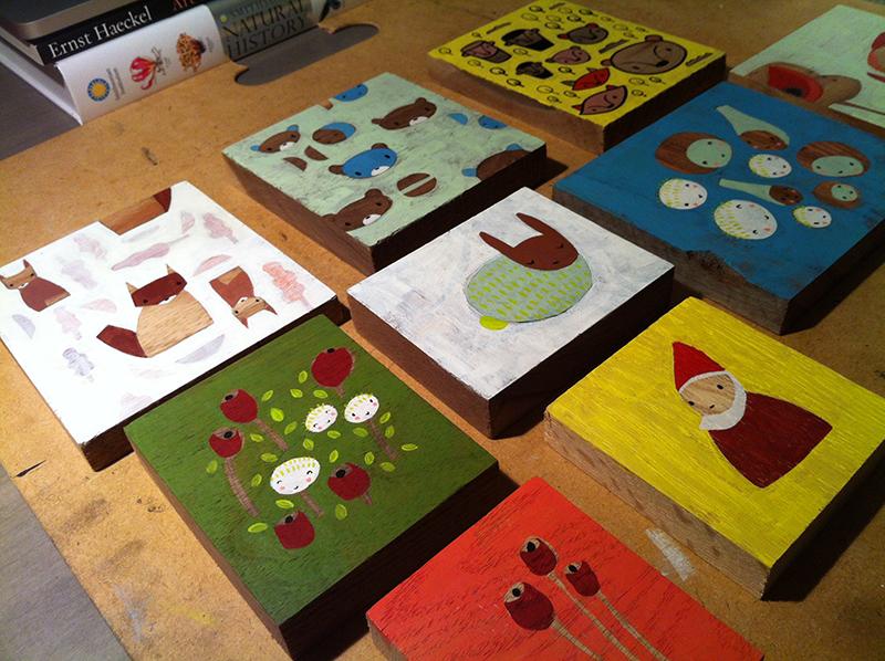 In progress paintings for ZINC Art + Gallery show on November 20 in Edmonds, WA.