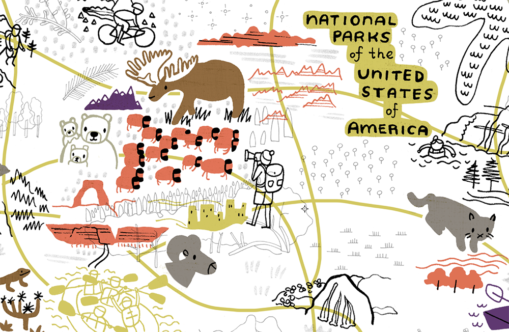 Close up from in progress National Parks map
