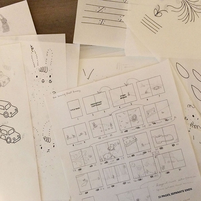 Piles of sketches and the original story board