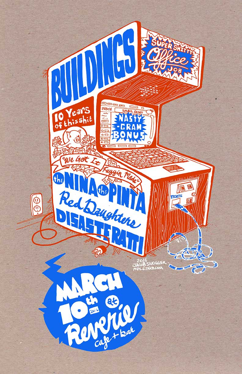 Buildings 10 year anniversary show poster