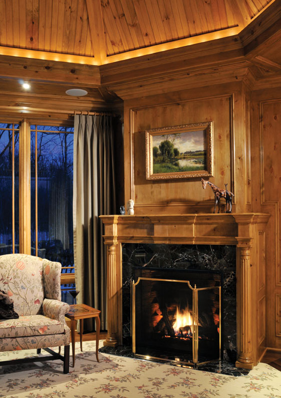 "We designed this classic, spacious and comfortable ""farmhouse"", situated on rolling acres of farm and woodland in Upper New York State, to serve the family for years to come. Cozy at any time, the study is especially so on winter nights in front of the exquisitely detailed pine fireplace."