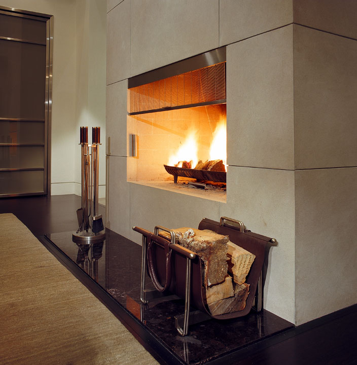 The unique design of this custom made rolling fireplace screen won an ARIDO award for Product Design.