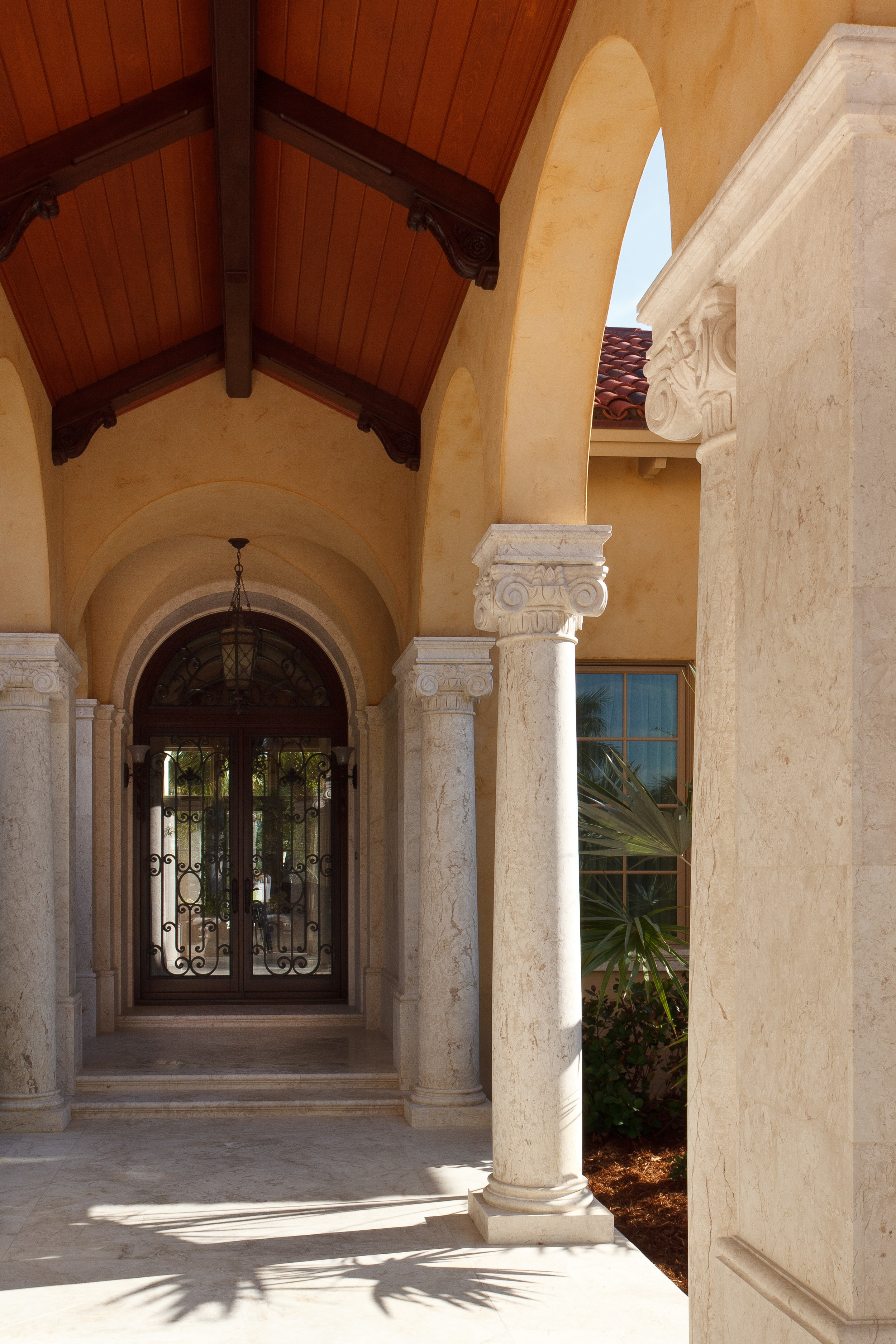 The scale and details of the several colonnades were carefully developed to inform the architect, builder and Syrian stoneworkers. Every column is solid stone. For the front entrance, we were involved with detailing the brackets and ceiling structure, as well as the door grille.