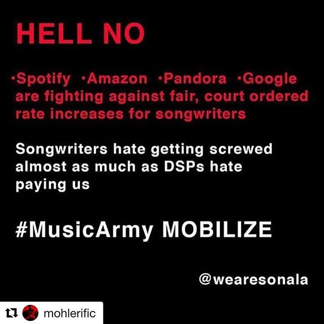 #Repost @mohlerific ・・・ Cancelled my @spotify account and I suggest everyone does the same until they understand that stealing from writers is NOT cool!! #cancelspotify#tidal#nospotify