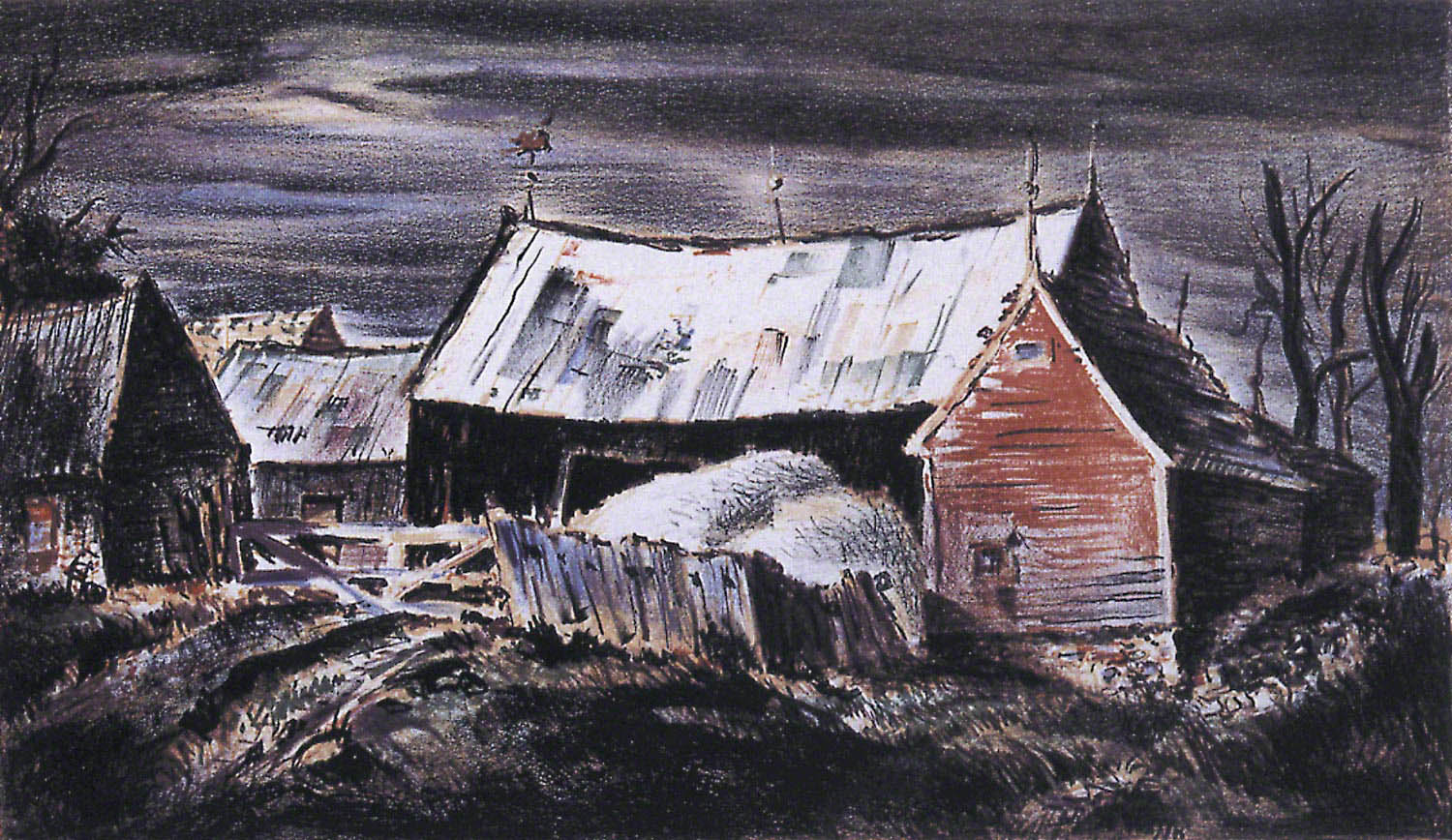 Barn with White Roof by John C. Menihan