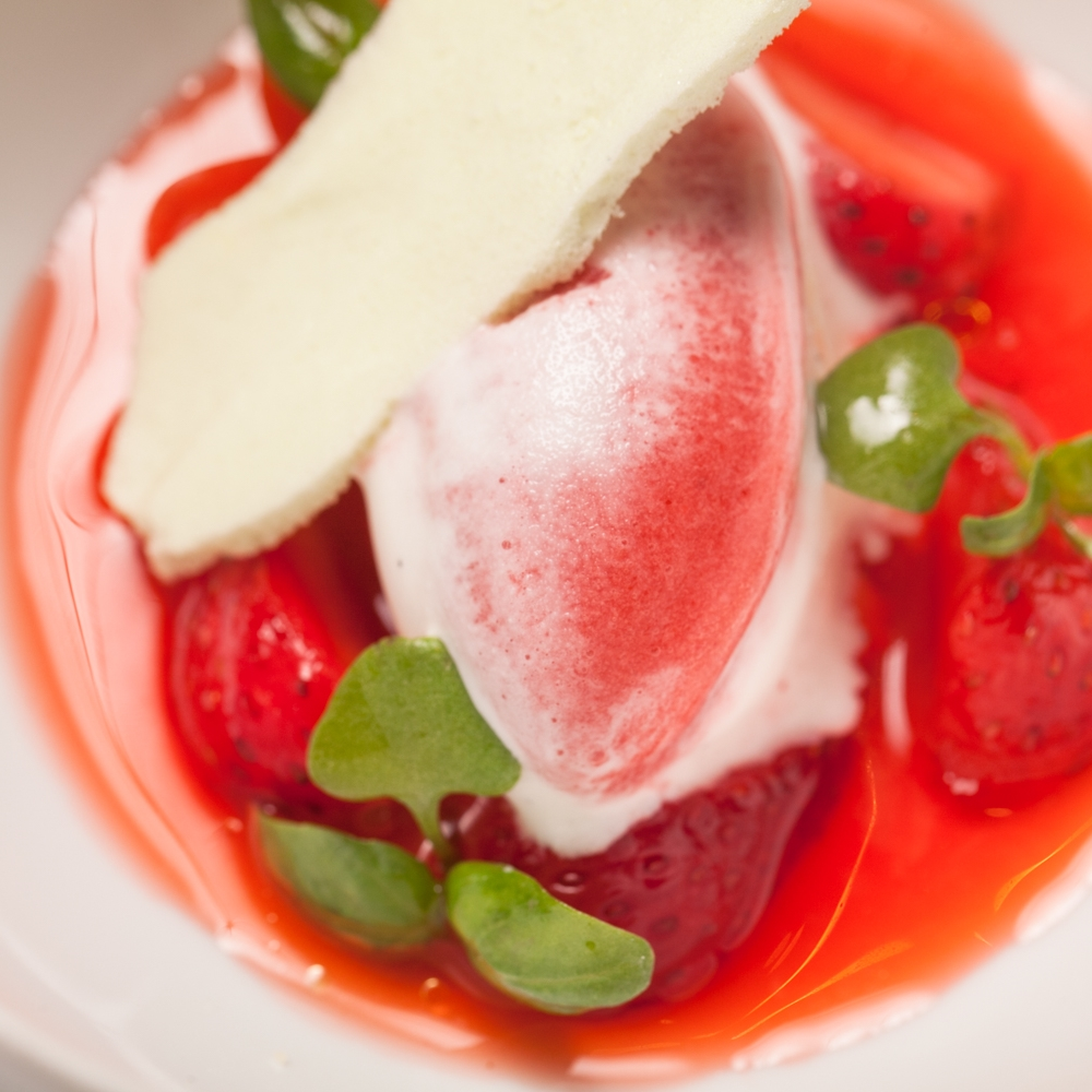 Strawberry, lychee, pistachio, nasturtium