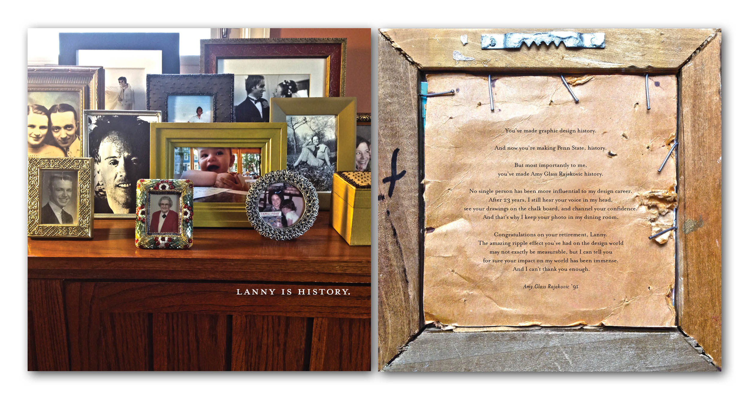 """Lanny Sommese is retiring from teaching this year. All his students were asked to create an 11"""" x 11"""" piece about what he has left us, now that he is leaving. This is the front and back of mine."""