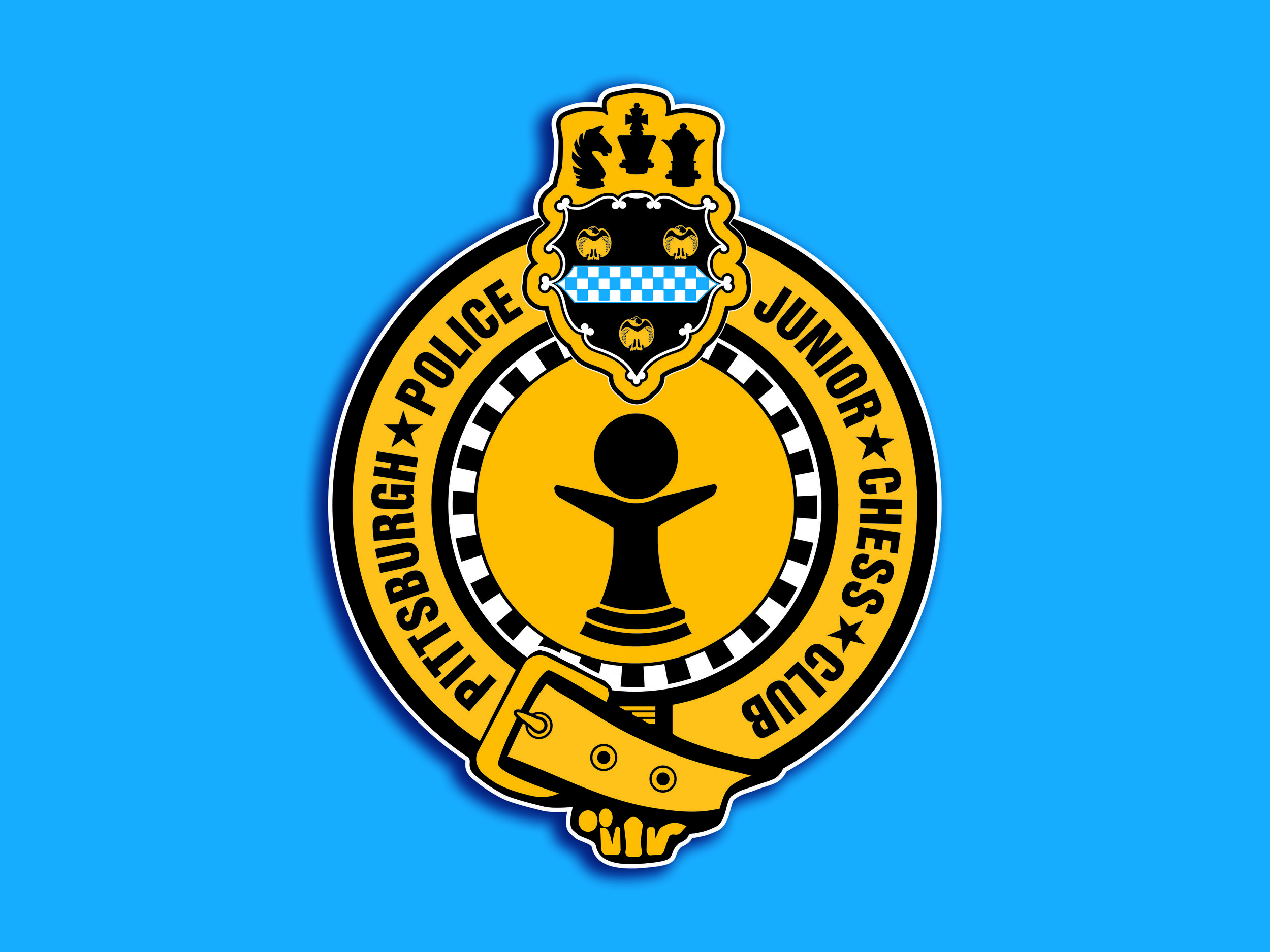 The official Pittsburgh Police Junior Chess Club logo. (I got special permission to incorporate the Pgh Police badge art into the mark).