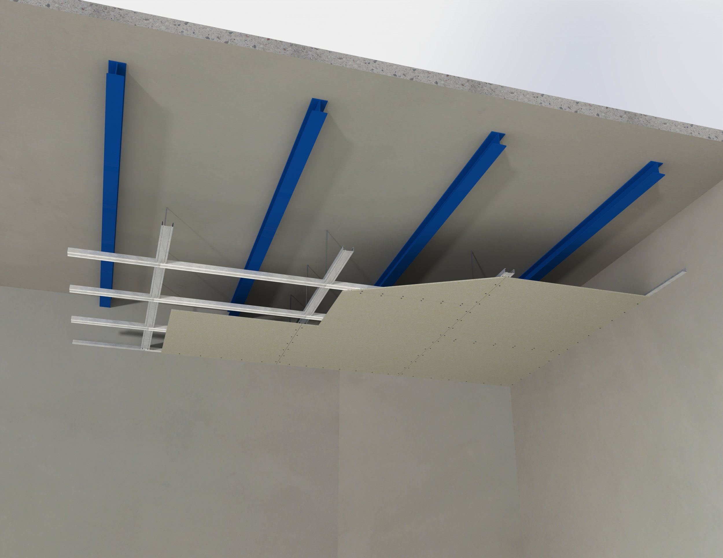 Suspended ceiling membranes protecting concrete slab supported by steel beams