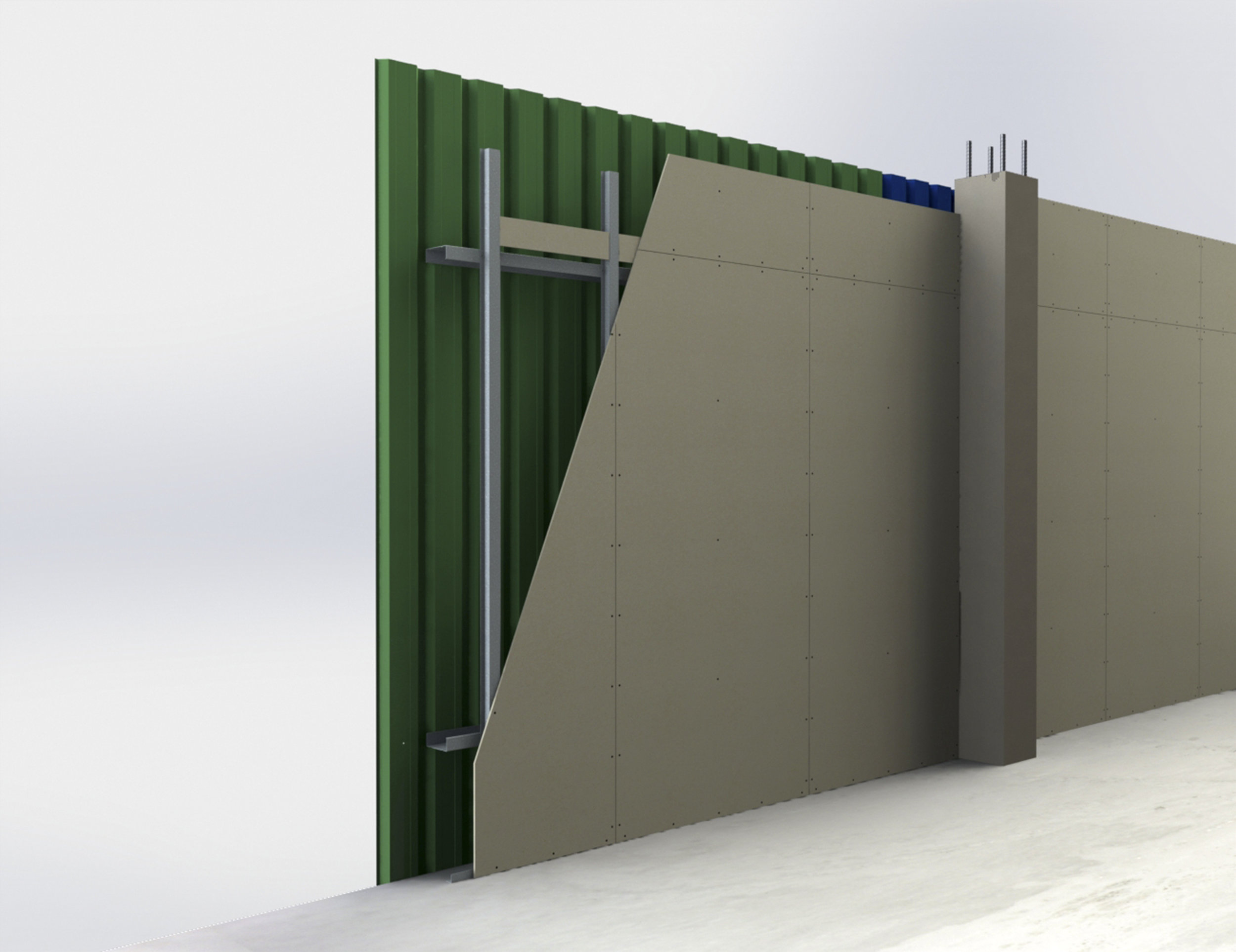 External walls with steel cladding