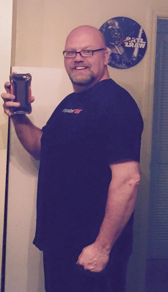 At 43lbs down I fit into this 2XL shirt that I haven't been able to wear in 2 years.