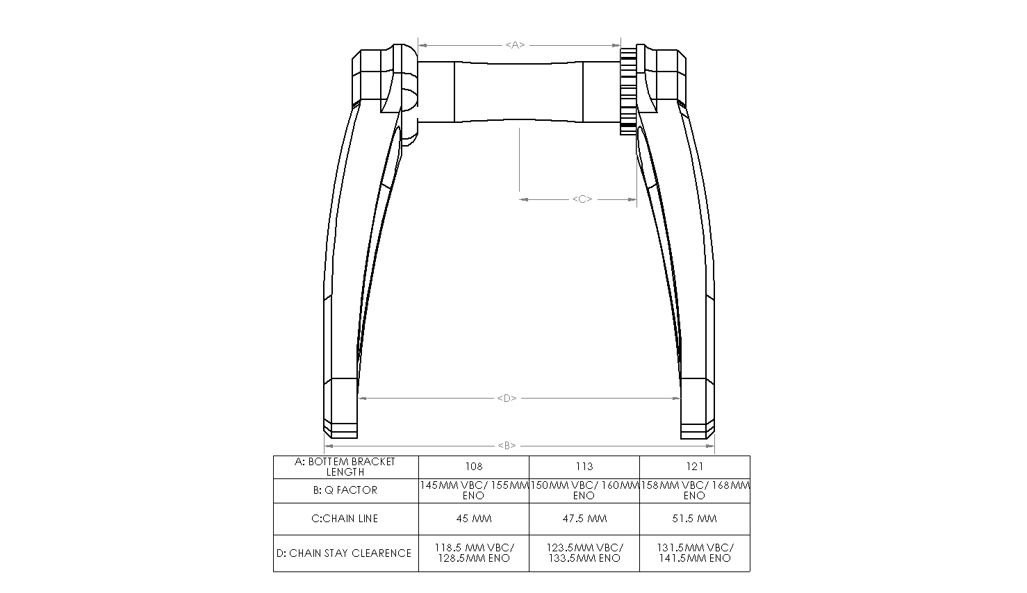 Square Taper Chain Stay Clearance Guide