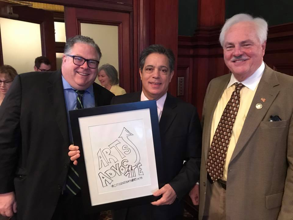 Chairs of the Legislative Arts & Culture Caucus (l-r) Rep. Tim Briggs, Sen. Jay Costa, and Rep. Lee James. Not pictured - Sen. Pat Browne