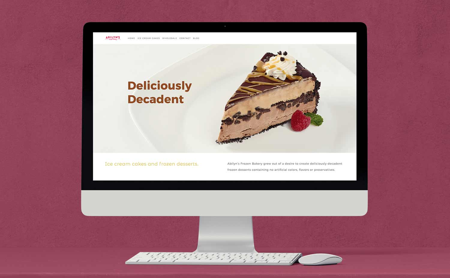 The website showcases all of Abilyn's Frozen bakery products.