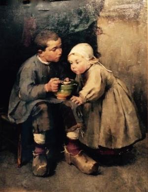 Schjerfbeck, Helene (1862-1946): Pikkusiskoaan ruokkiva poika, 1881