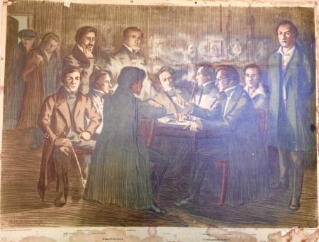 Lauantaiseura koolla, J. W. Snellman neljäs oikealta, A. Haartmanin piirros vuodelta 1907, Otava
