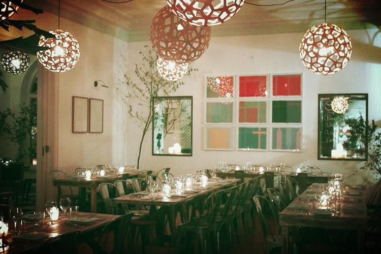 The dining room at Casa Fat Radish.