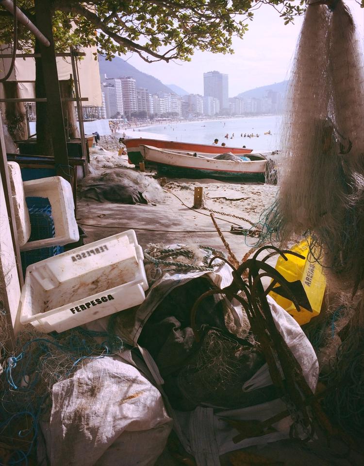 Fish market overlooking Copacabana beach.