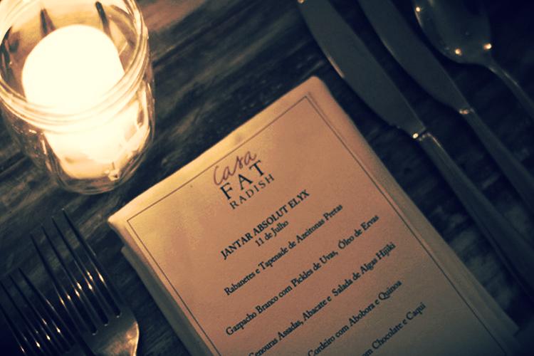 The Casa Fat Radish x Absolut Elyx Dinner menu.