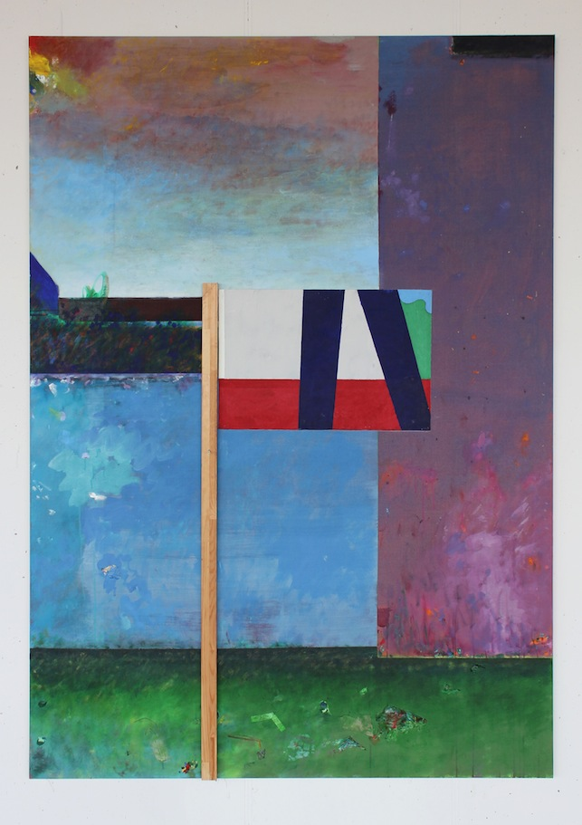 A flag for his practice.   2016. acrylic, stretcher bar & screw on linen, 213x150cm.