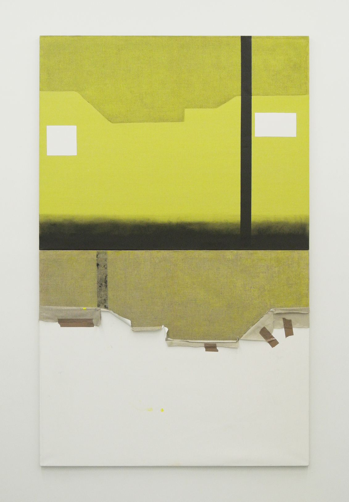Two rival artists' studios (front & reverse).  Acrylic & tape on linen, 2014.