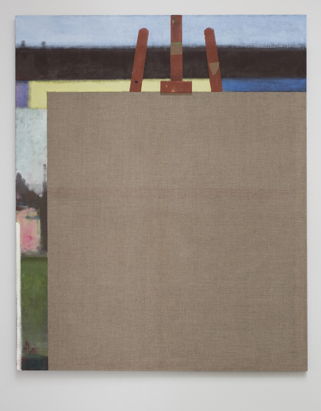 Likely Posture For Plein Air.  Acrylic on linen, 116x142 cm, 2014.