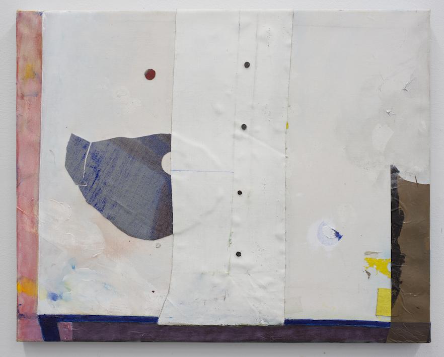 Still Life.  Acrylic, tape & tacks on Linen, 50x40cm, 2014.