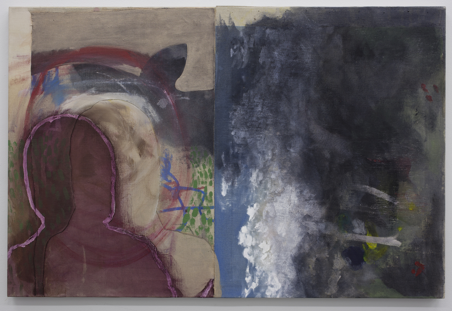 Couple Argue Over Rotated Landscape.  Acrylic on Linen, 101x61cm, 2013.