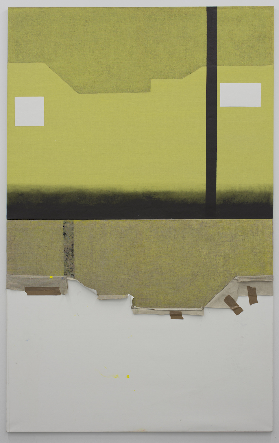 Two Rival Artists' Studios (Front & Reverse).  Acrylic & tape on linen, 152x244cm, 2014.