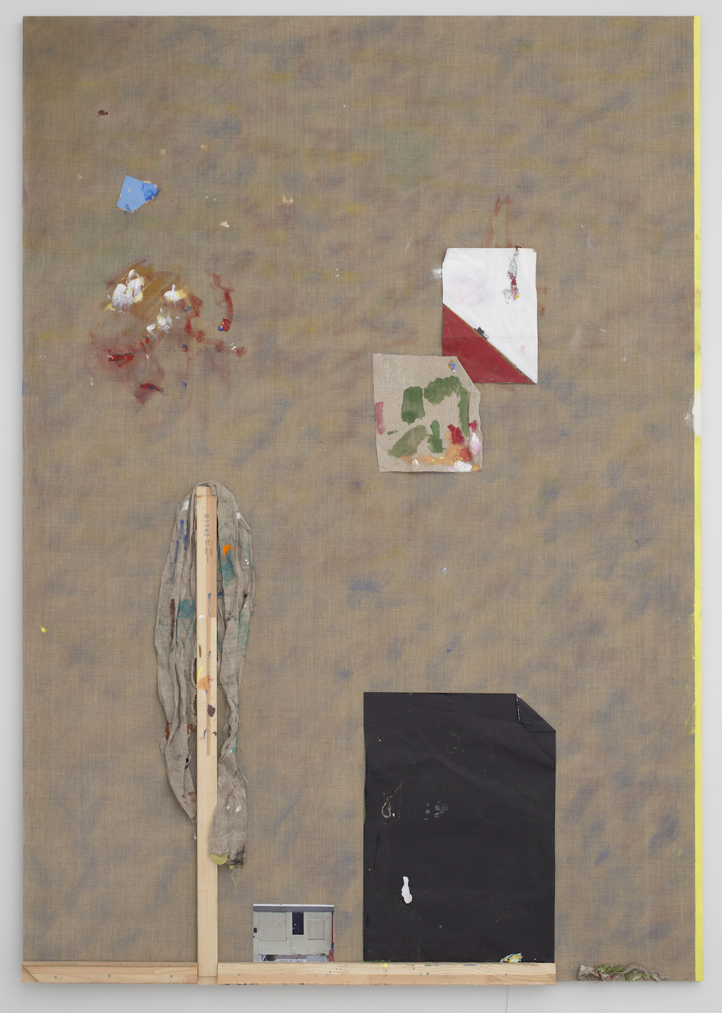 Untitled.  Acrylic, stretcher bars, paper, photograph, staples & linen, 150x213cm, 2015.