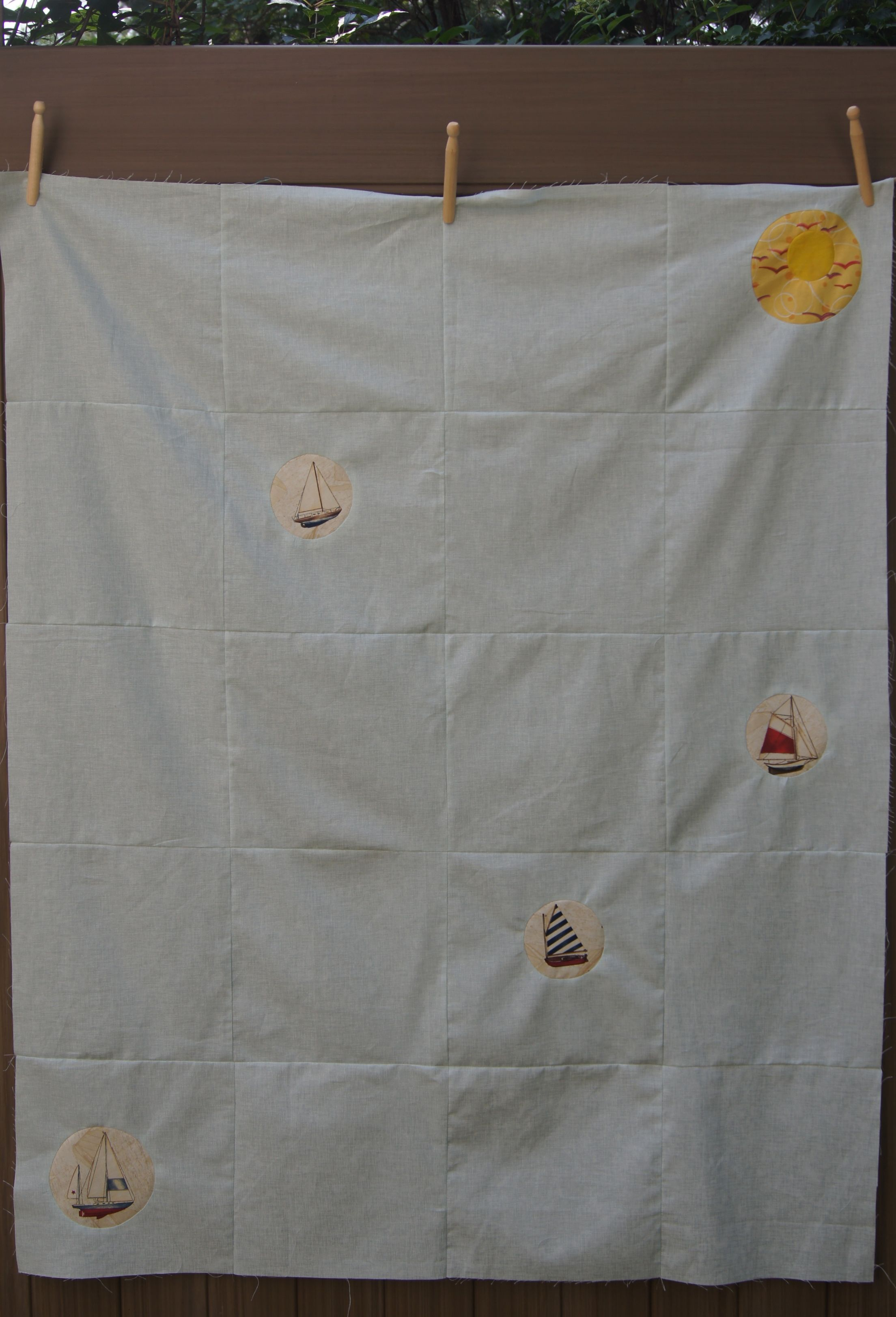 Porthole Quilt top with Reverse Circles
