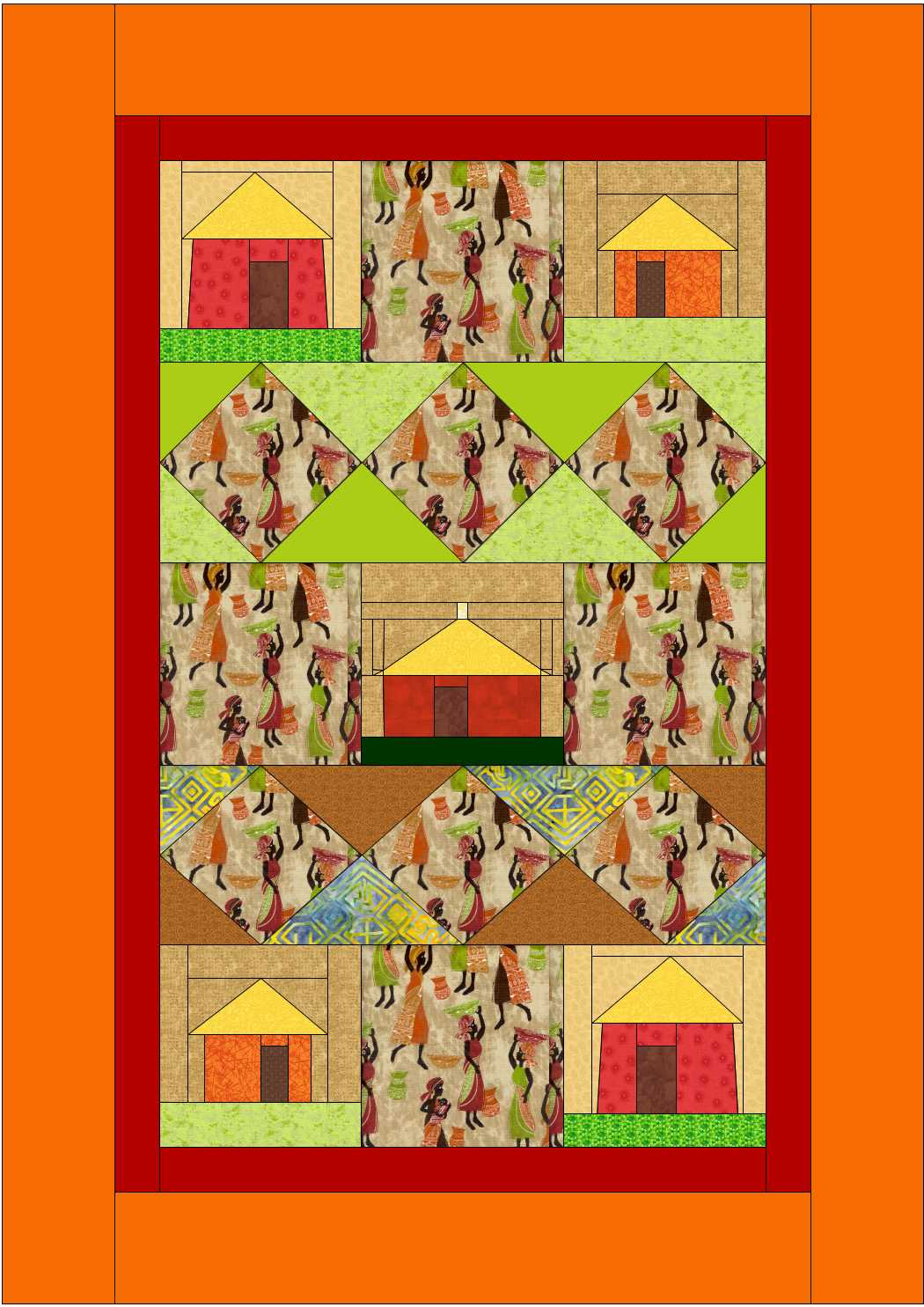 African Village Quilt Design 41 x 58 inches