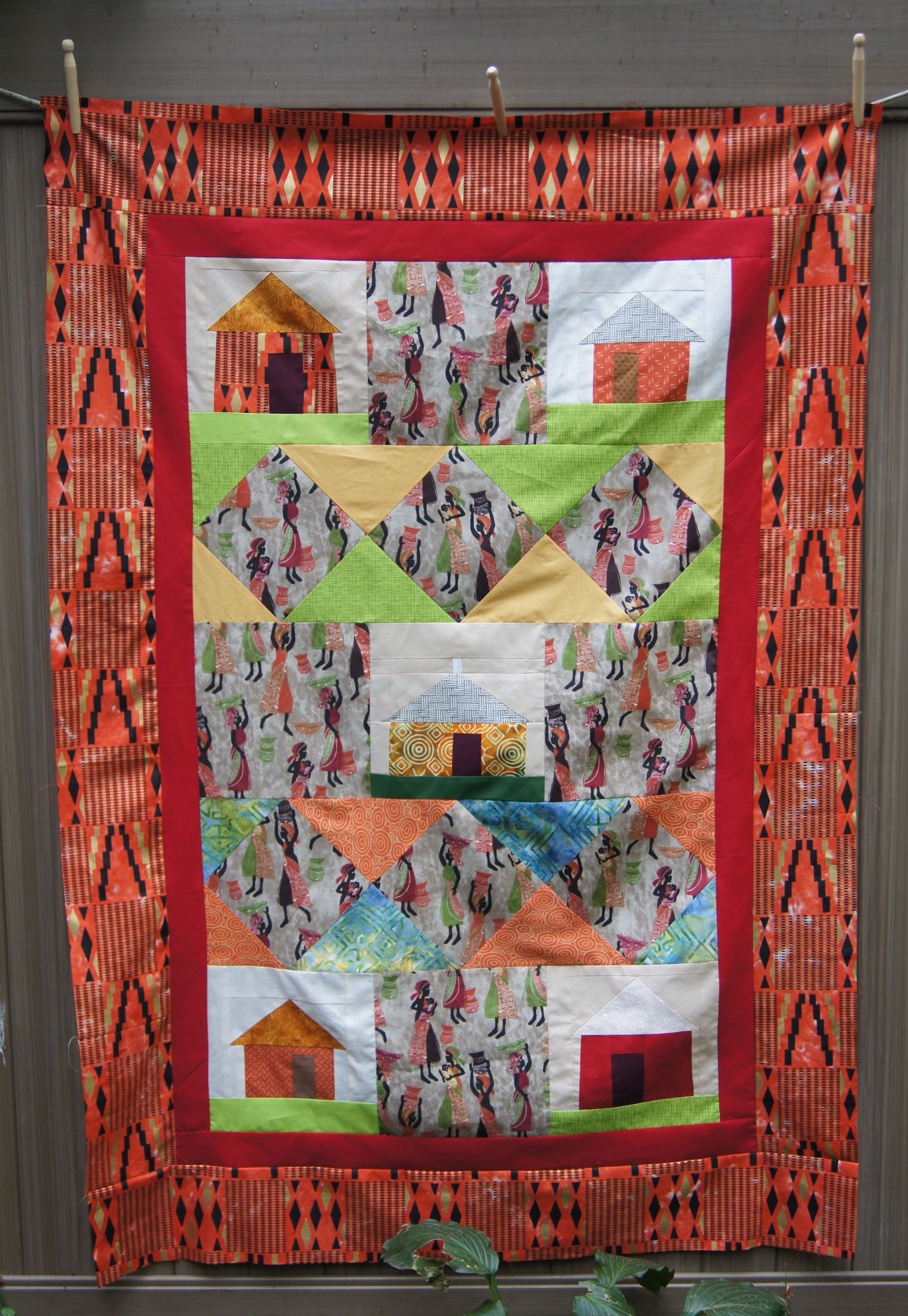 Completed Top African Village Quilt