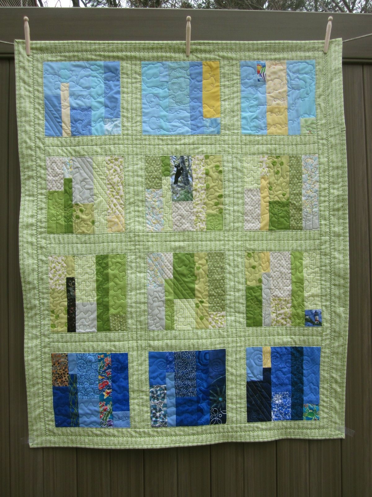 Quilt Low Volume Green and Blue Strip Pieced Baby Quilt 3-14.jpg