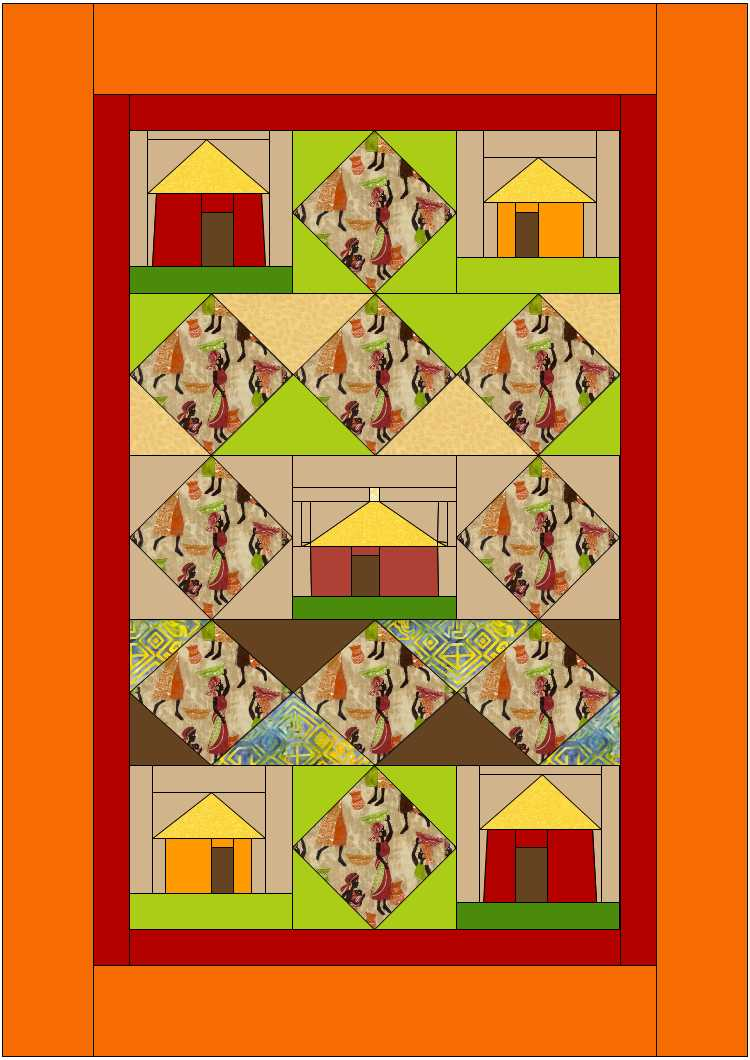 African Village with Diamonds Quilt Design