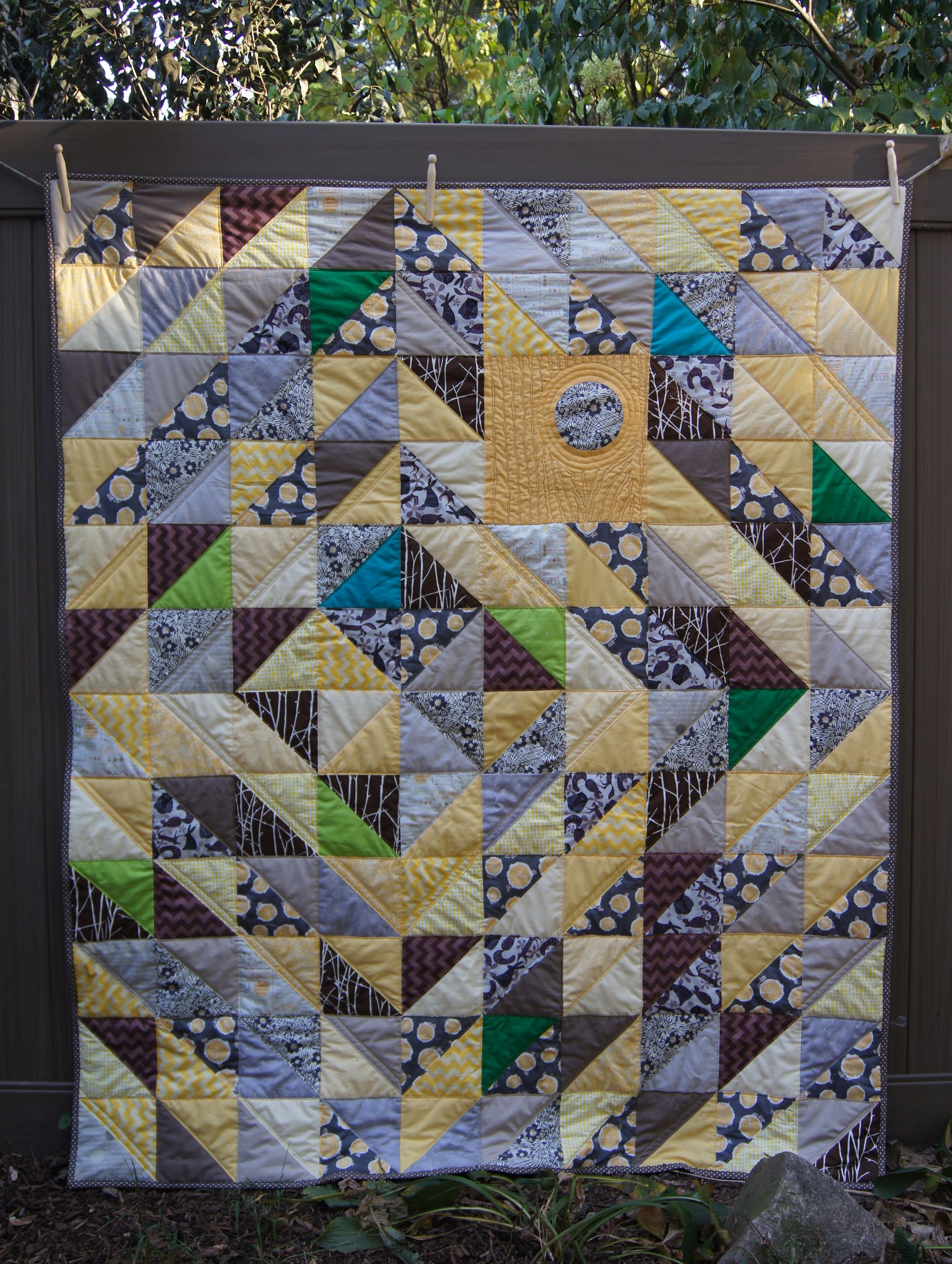 Half Square Triangles with Reverse Circle:  The Tree Quilt 56 x 68 inches