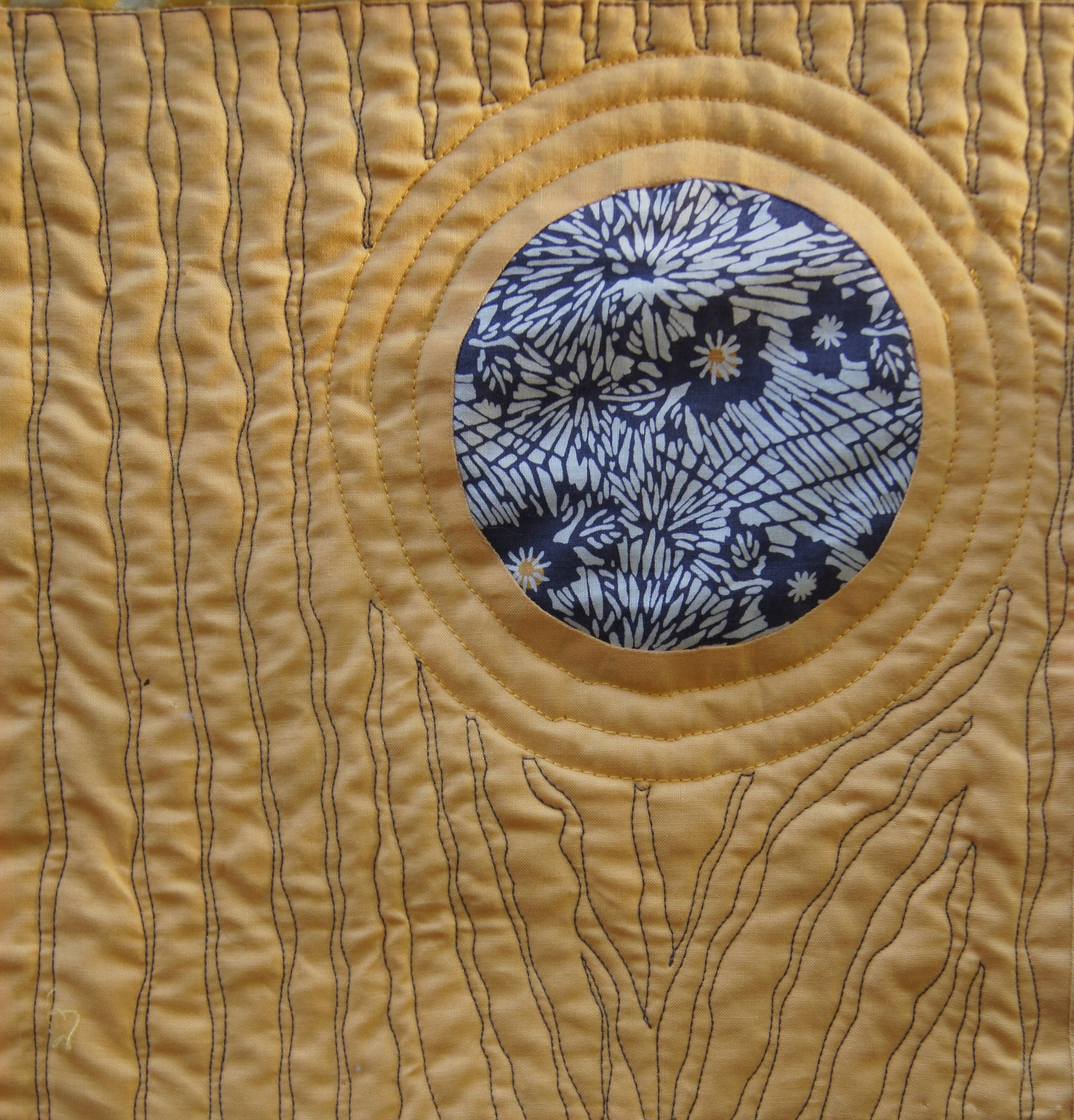 "Detail of quilting of the ""tree trunk"""