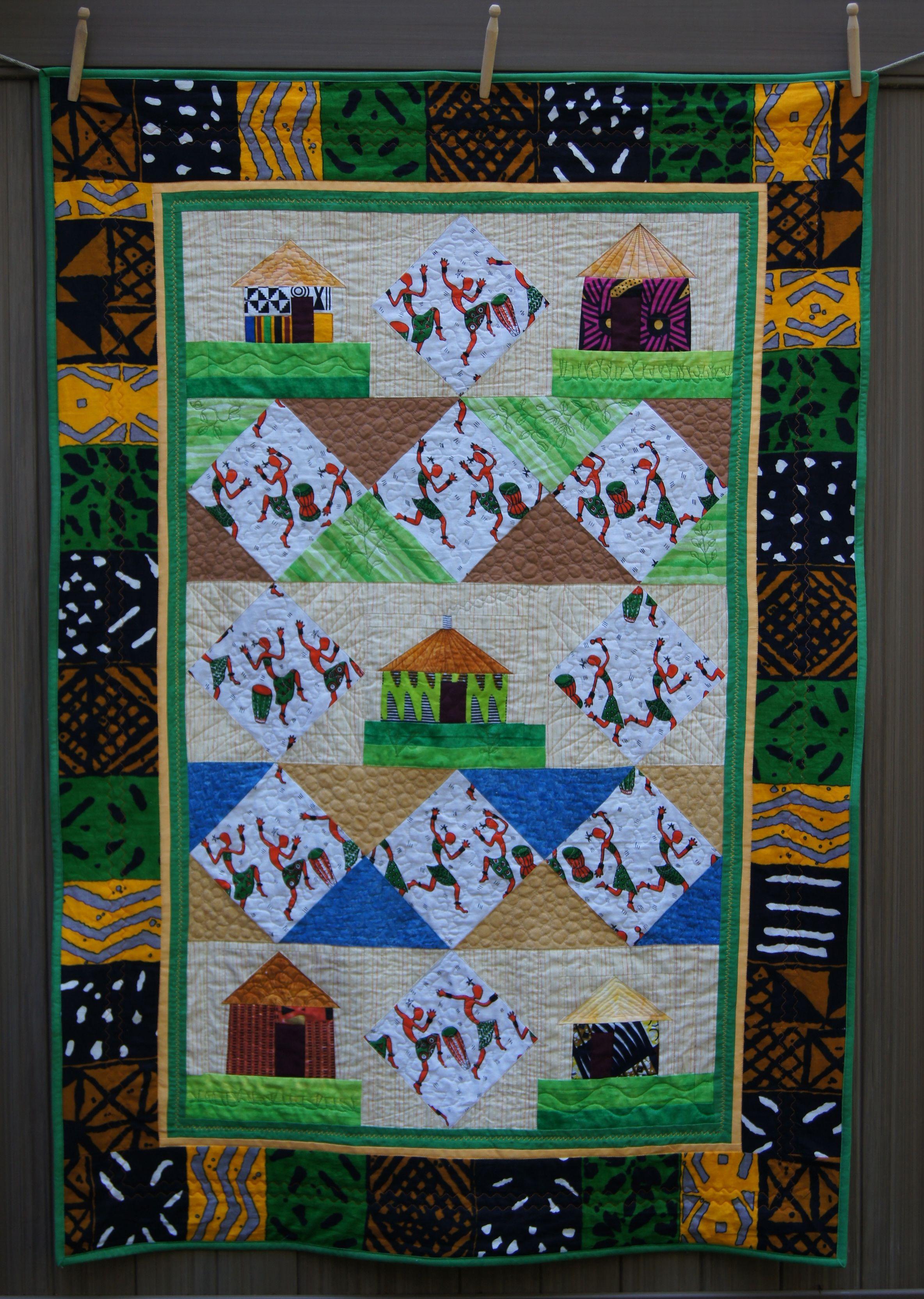 Quilt African Village with Dancers 9-14.jpg