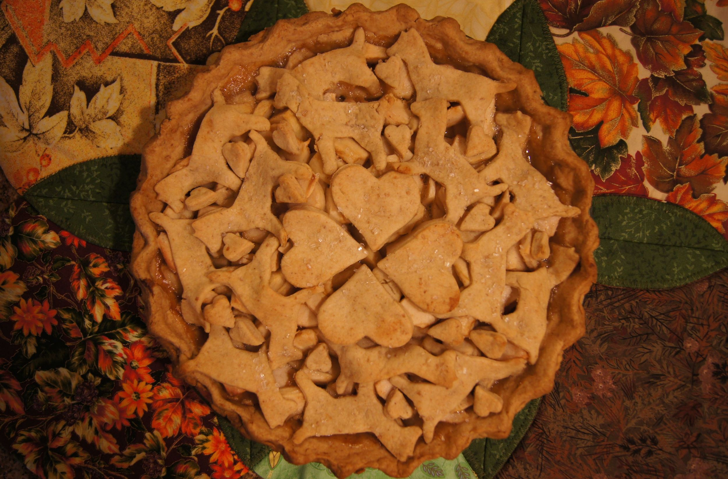 Apple pie, decorated with cut out dogs and hearts