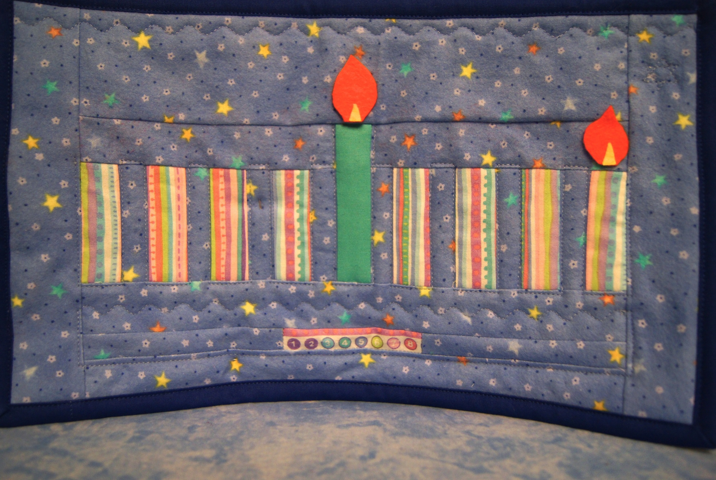 Hanukkah Mini Quilt 9 x 15 inches, quilting cotton, flannel and felt