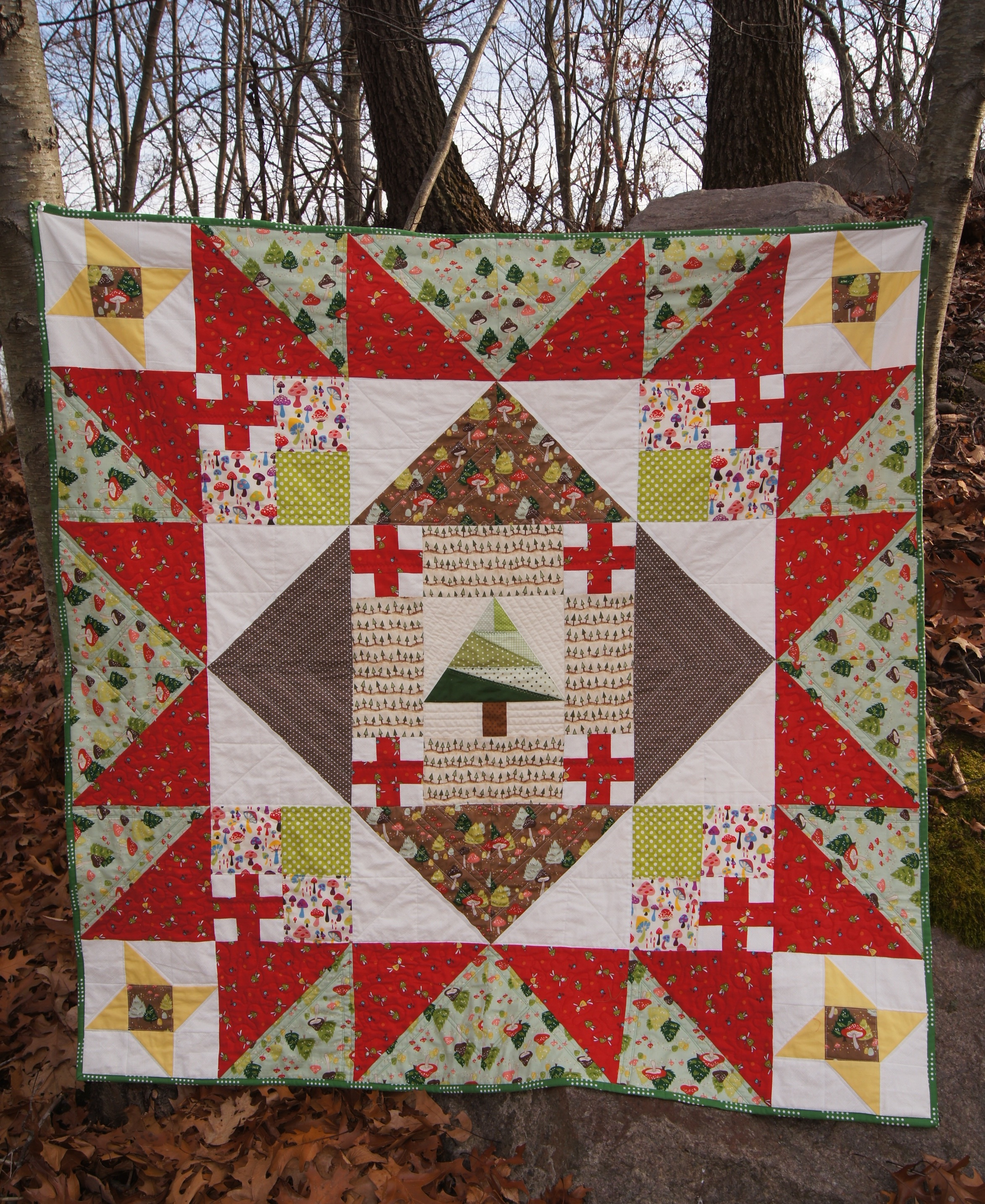 Christmas Woodlands lap quilt  52 1/2 x 52 1/2 inches