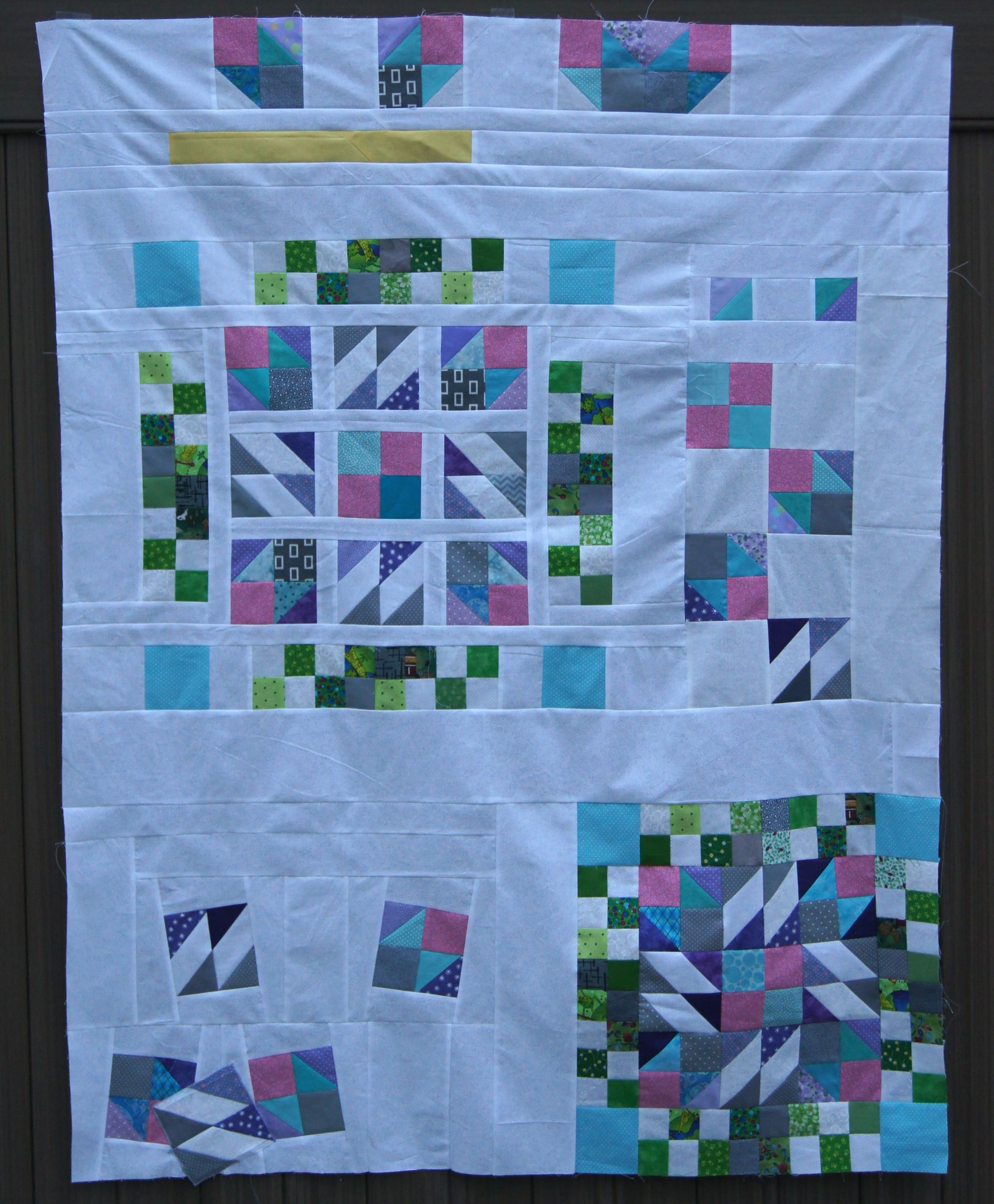 "Lap Quilt 41 x 55 1/2 inches ""Under Construction""  A Modern Take on Bonnie Hunter's Grand Illusion"