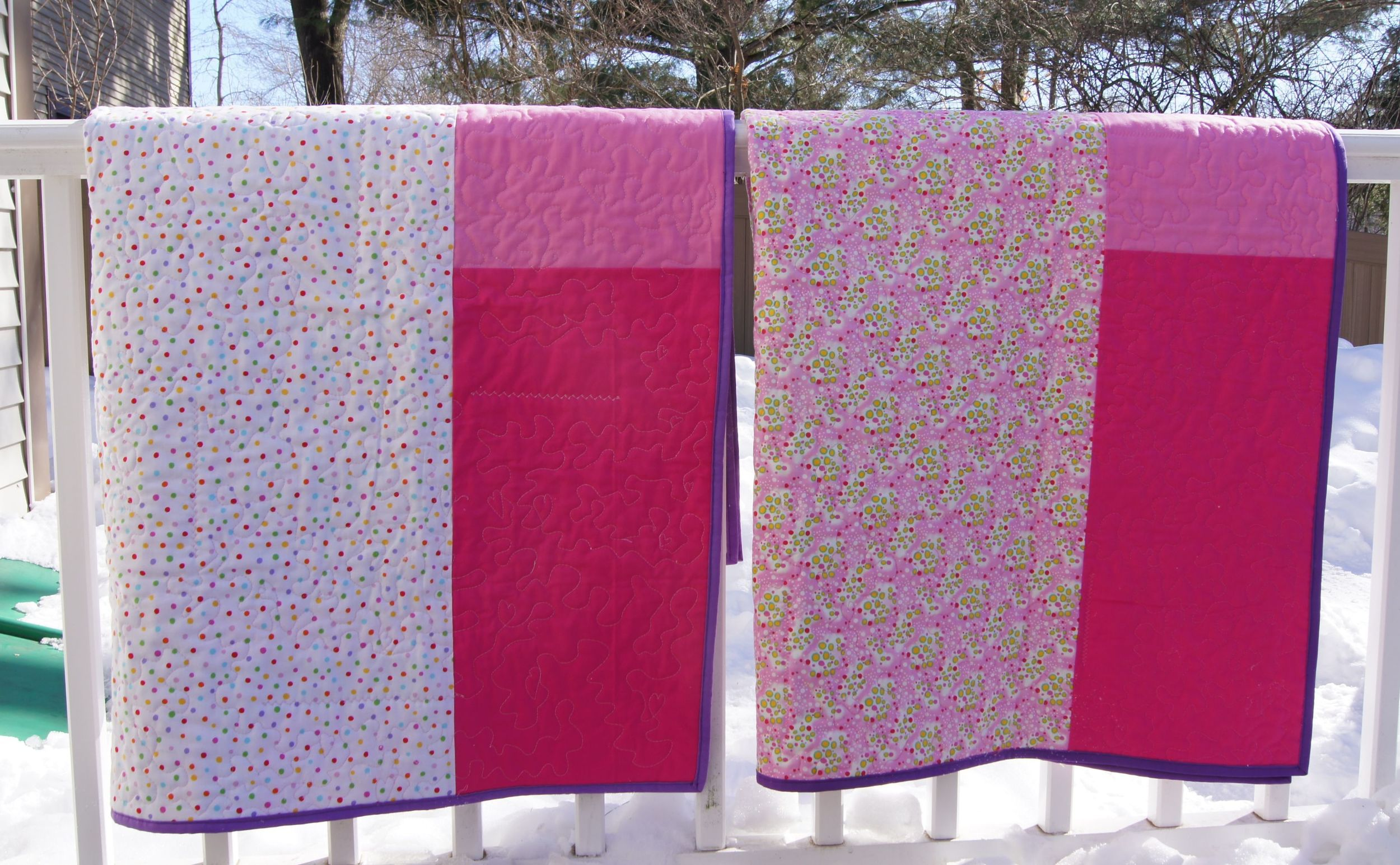 """Backs of the """"Twin Cities"""" quilts"""
